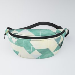 Abstract Green Triangles, Watercolor Pattern Fanny Pack