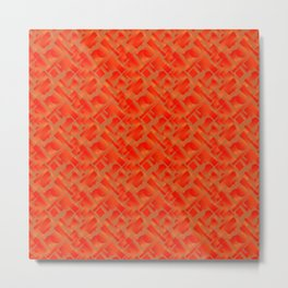 Stylish design with interlaced circles and bronze rectangles of stripes. Metal Print