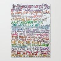 bukowski Canvas Prints featuring bukowski by emmaleeerose
