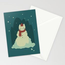 Cozy Snowcat Stationery Cards