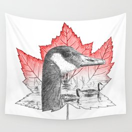 Canada Goose on Maple Leaf (with some red) Wall Tapestry
