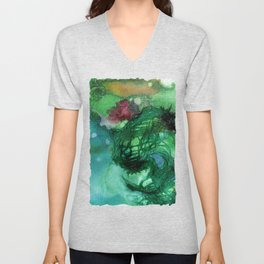 Blue Textured Abstract Unisex V-Neck