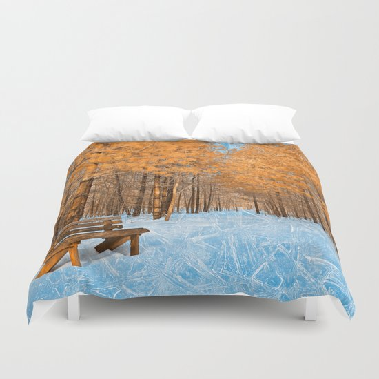 Burning Ice Forest Trail Duvet Cover