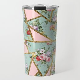 Modern abstract gold pink green floral triangles Travel Mug
