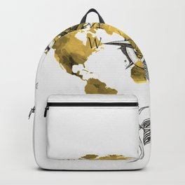 Gold World Map 2 Backpack