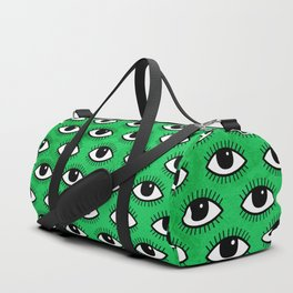 Eyes pattern on green background Duffle Bag