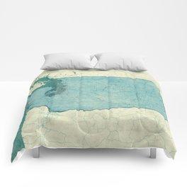 Washington State Map Blue Vintage Comforters