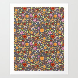 Happy Day Moons and Suns Art Print