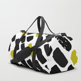 Oblique dots black and white olive Duffle Bag