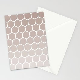 Neutral beige gradient honey comb pattern Stationery Cards