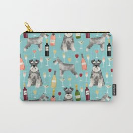 Schnauzer wine champagne cocktails rose dog breed pattern Carry-All Pouch