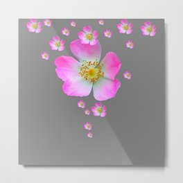 WILD PINK ROSE CASCADE ON GREY Metal Print
