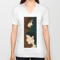 aragorn V-neck T-shirts featuring Arwen and Aragorn by cos-tam