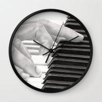 piano Wall Clocks featuring Piano by aurelia-art
