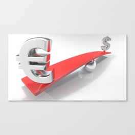 Euro and Dollar symbols at opposite sides of a balanced plane Canvas Print