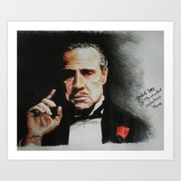 godfather Art Prints featuring The Godfather by Tridib Das