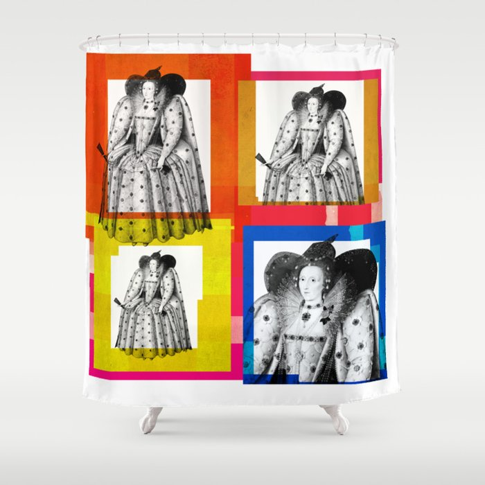 QUEEN ELIZABETH THE FIRST 4 UP POP ART COLLAGE Shower Curtain