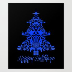Ornate Pineapple Holiday Tree Art Print