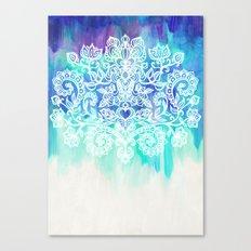 Indigo & Aqua Abstract - doodle painting Canvas Print