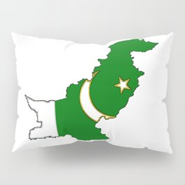 Pakistan Map with Pakistani Flag Pillow Sham