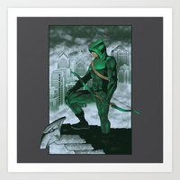 deathstroke Art Prints featuring The Emerald Archer by Nick Overman