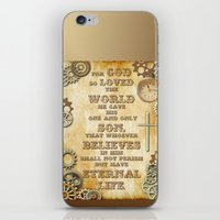 bible verse iPhone & iPod Skins featuring Steampunk Bible Verse For God So Loved the World by Whimsy and Nonsense