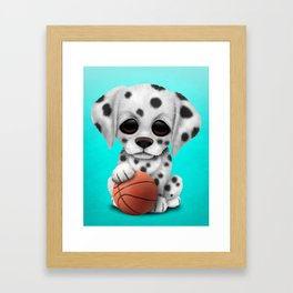 Dalmatian Puppy Dog Playing With Basketball Framed Art Print