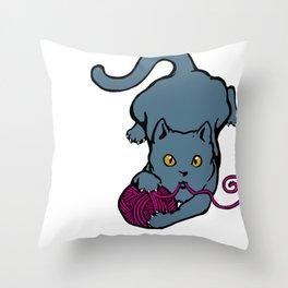 Cats&Yarn - British Shorthair Cat Throw Pillow