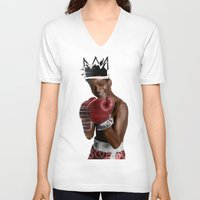 basquiat V-neck T-shirts featuring Basquiat * by zombielombii