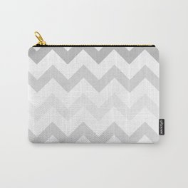 Gradient Grey Chevron on White Carry-All Pouch