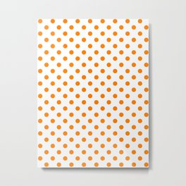 Small Polka Dots - Orange on White Metal Print