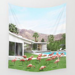 Flamingos in Palm Springs Wall Tapestry