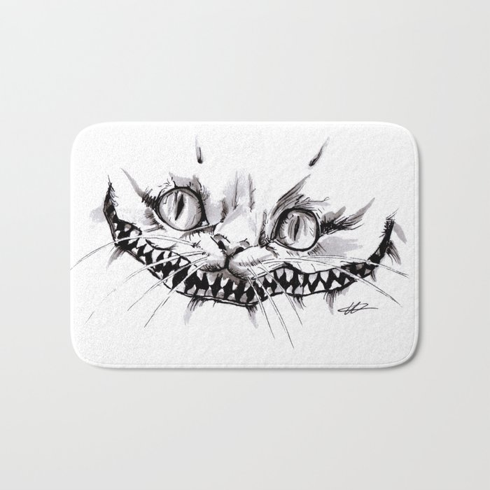 Cheshire Smile Inktober Drawing Bath Mat