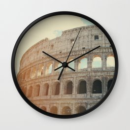 Italy Photography - The Sun Shining At The Colosseum Wall Clock