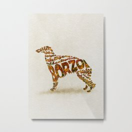 Borzoi Dog Typography Art / Watercolor Painting Metal Print