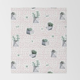 Potted Succulents Pink Polka Dots Throw Blanket