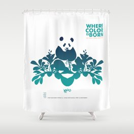 "Köpke's ""Where Color is Born - The Great Panda Adventure"" Shower Curtain"