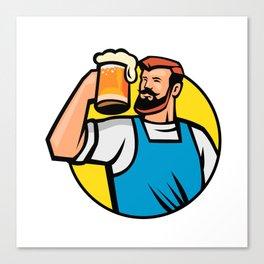Bearded Hipster Toasting Beer Mug Circle Mascot Canvas Print