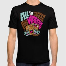 ALL THE COFFEE AND WAFFLES MEDIUM Black Mens Fitted Tee