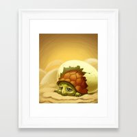 sea turtle Framed Art Prints featuring turtle by Antracit