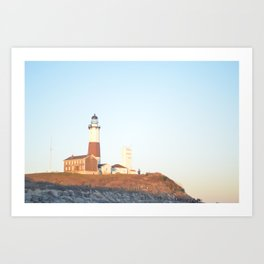 Sunset at Lighthouse in East Hampton Art Print