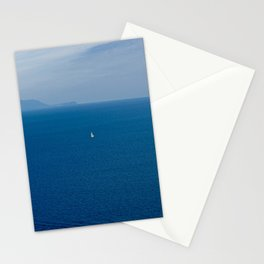 Boat in the blue sea Stationery Cards