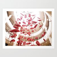 Shower of red Art Print