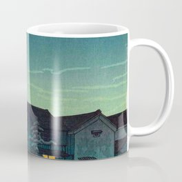 Kawase Hasui Vintage Japanese Woodblock Print Japanese Village Under Moonlight Cloudy Sky Coffee Mug