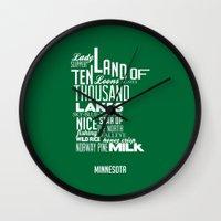 minnesota Wall Clocks featuring Minnesota by Kelly Jane