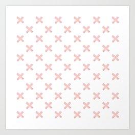 Cross Brush Pattern Hand Drawn Graphic Artwork Rose Quartz Love Art Print