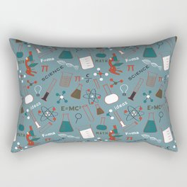 Blue Science and Math Icons Rectangular Pillow
