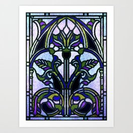 Blue and Green Glowing Art Nouveau Stain Glass Design Art Print