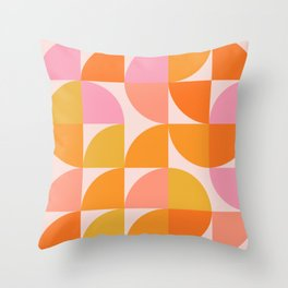 Mid Century Mod Geometry in Pink and Orange Throw Pillow