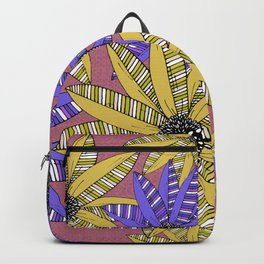 Blue and Yellow Striped Sketch Flowers Illustrated Pattern Backpack